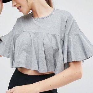 Kendall & Kylie Crop Flutter Sleeve Top | Gray | L